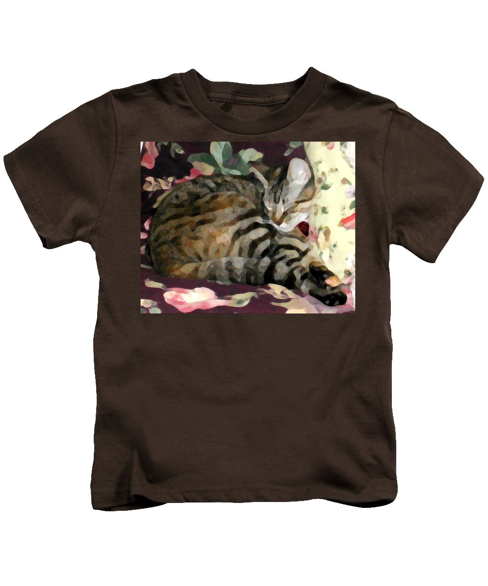 Tabby Cat Kids T-Shirt featuring the photograph Sleeping Tabby by Jeanne A Martin