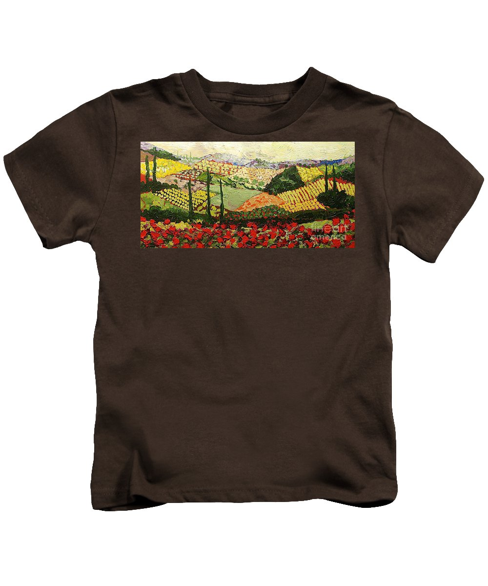 Landscape Kids T-Shirt featuring the painting Something Red by Allan P Friedlander