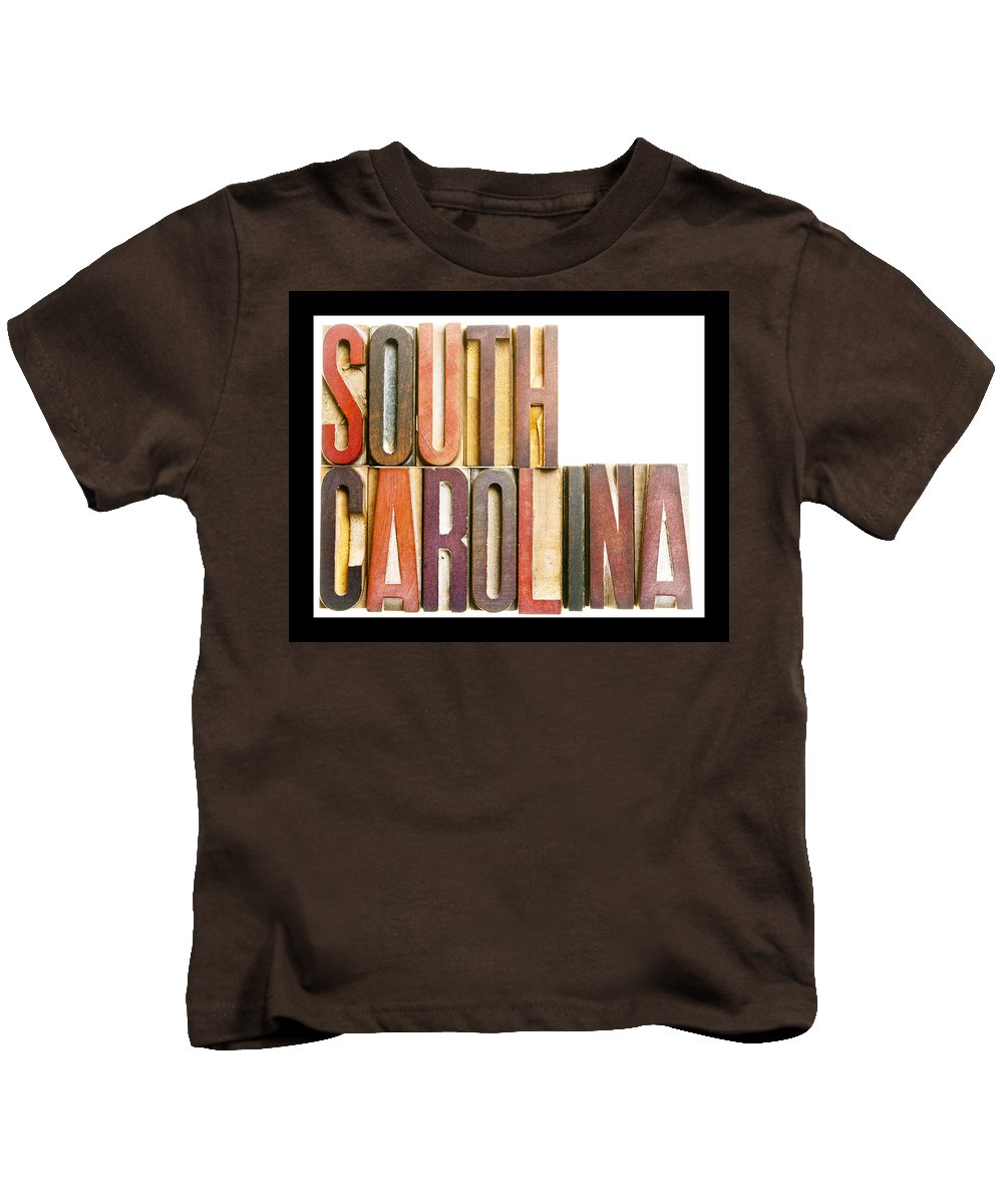 South Carolina Kids T-Shirt featuring the photograph South Carolina Antique Letterpress Printing Blocks by Donald Erickson