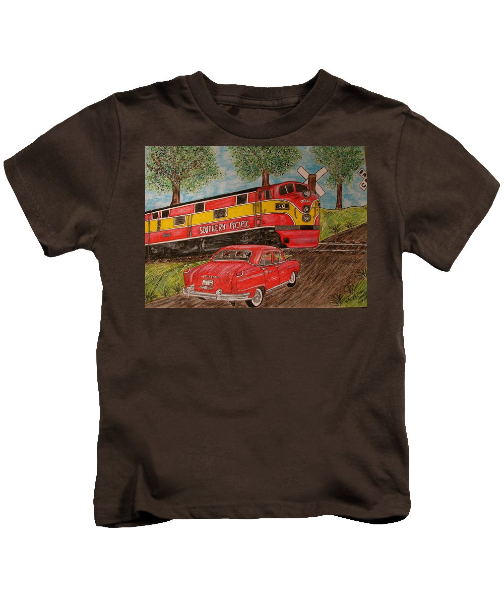 Southern Pacific Railroad Kids T-Shirt featuring the painting Southern Pacific Train 1951 Kaiser Frazer Car Rr Crossing by Kathy Marrs Chandler