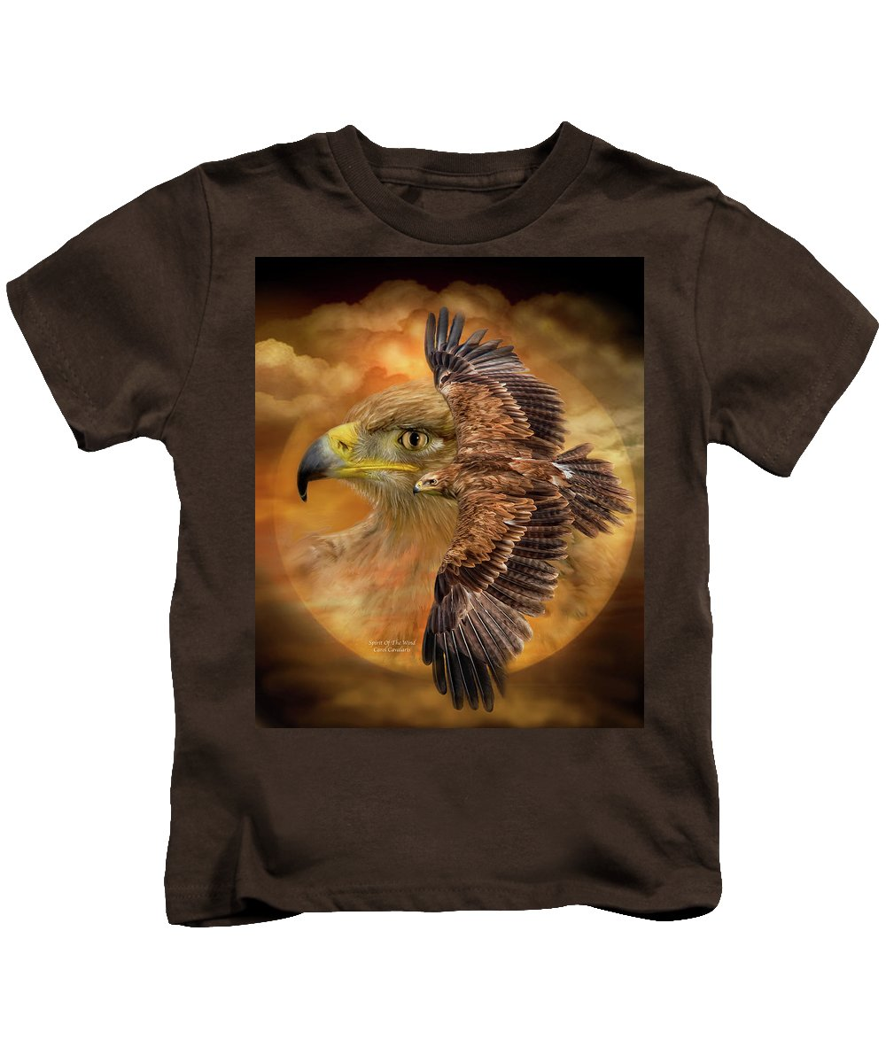 Eagle Kids T-Shirt featuring the mixed media Spirit Of The Wind by Carol Cavalaris