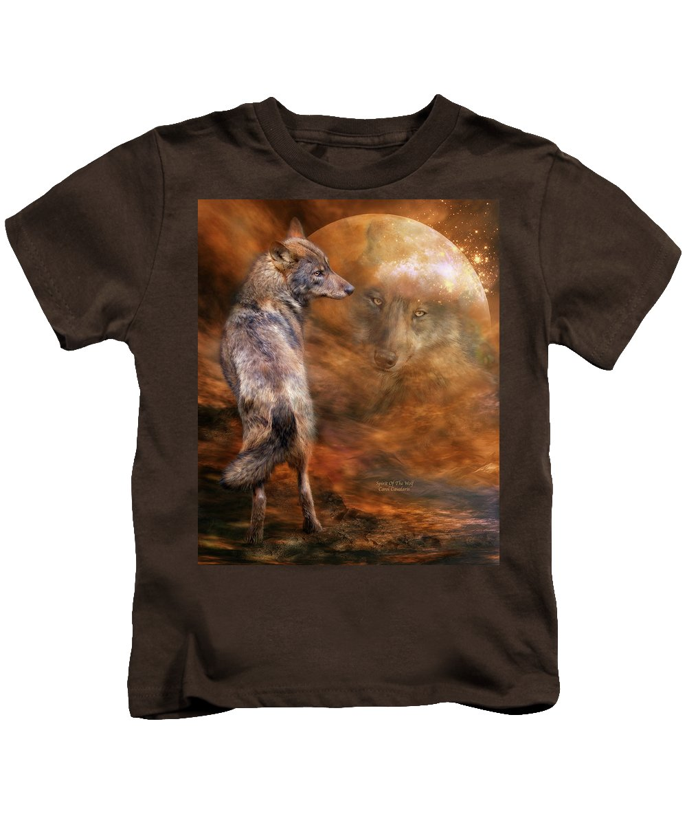 Wolf Art Kids T-Shirt featuring the mixed media Spirit Of The Wolf by Carol Cavalaris
