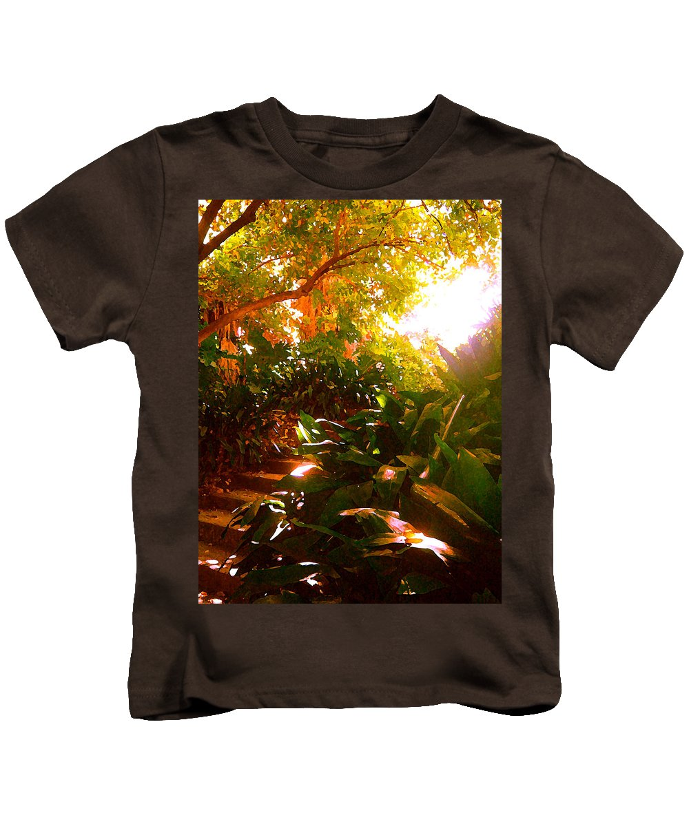 Landscapes Kids T-Shirt featuring the painting Stairway To The Top by Amy Vangsgard