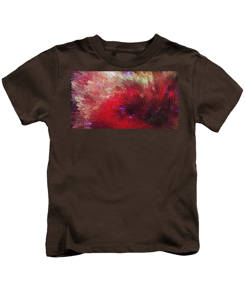 Sharon Cummings Kids T-Shirt featuring the painting Star Burst - Red Abstract Art By Sharon Cummings by Sharon Cummings
