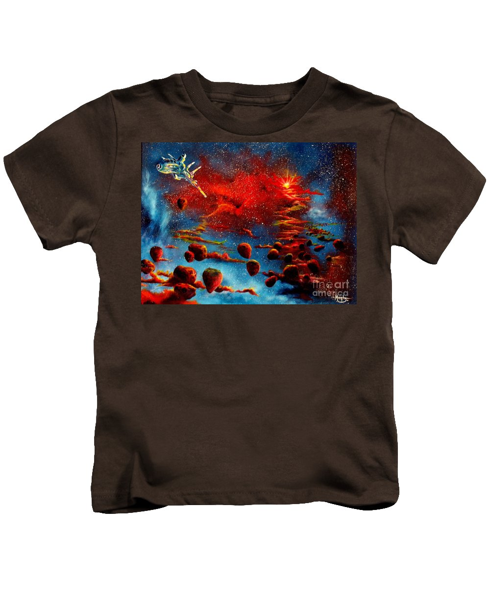 Nova Kids T-Shirt featuring the painting Starberry Nova Alien Excape by Murphy Elliott