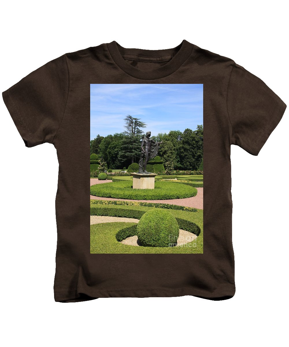 Statue Kids T-Shirt featuring the photograph Statue In A Boxwood Garden by Christiane Schulze Art And Photography