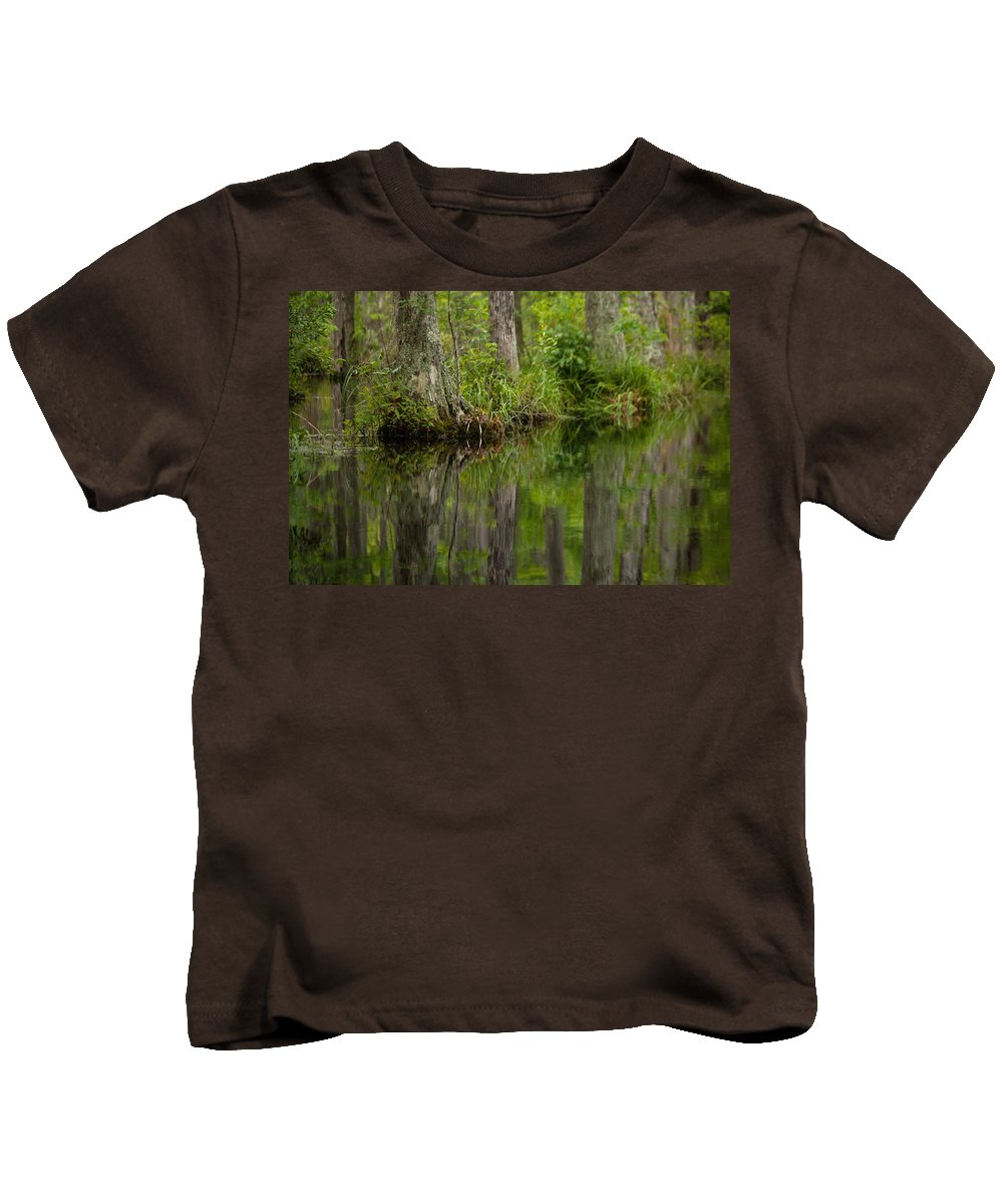 Stillness Swamp Kids T-Shirt featuring the photograph Stillness Swamp by Karol Livote