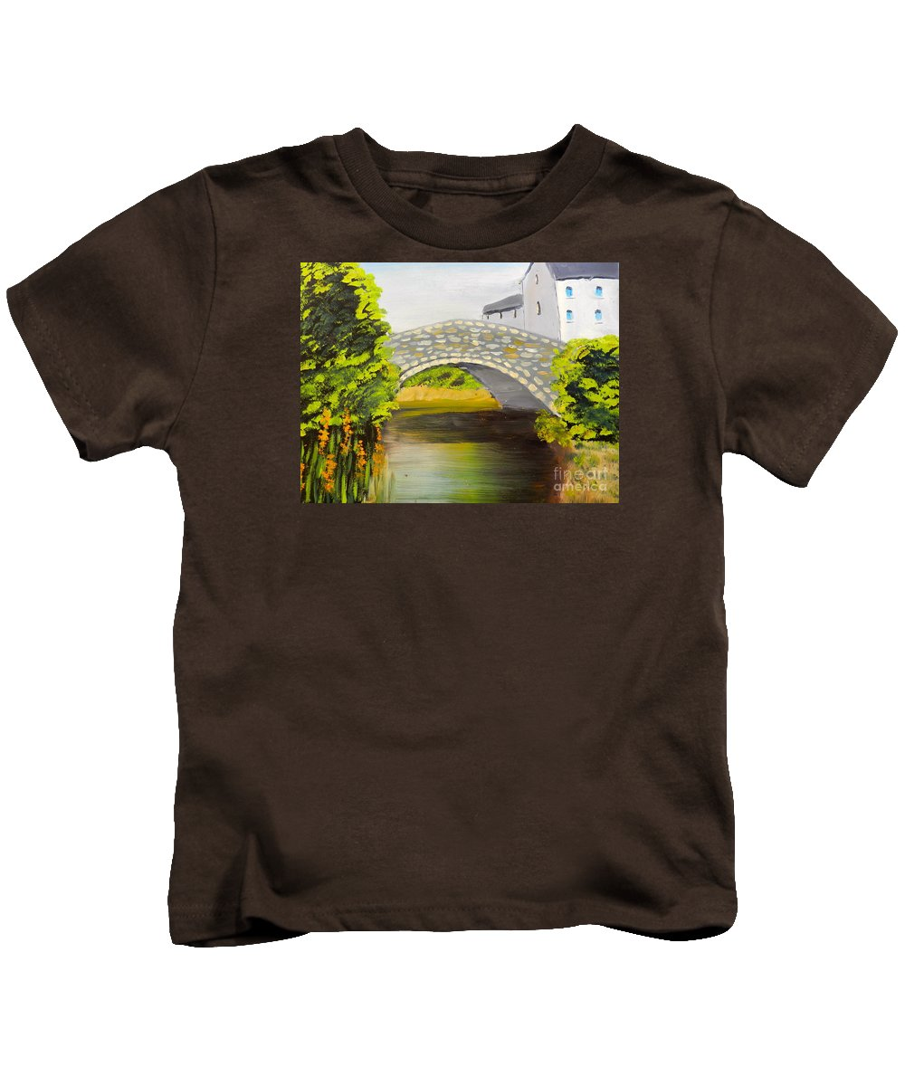 Impressionism Kids T-Shirt featuring the painting Stone Bridge At Burrowford Uk by Pamela Meredith