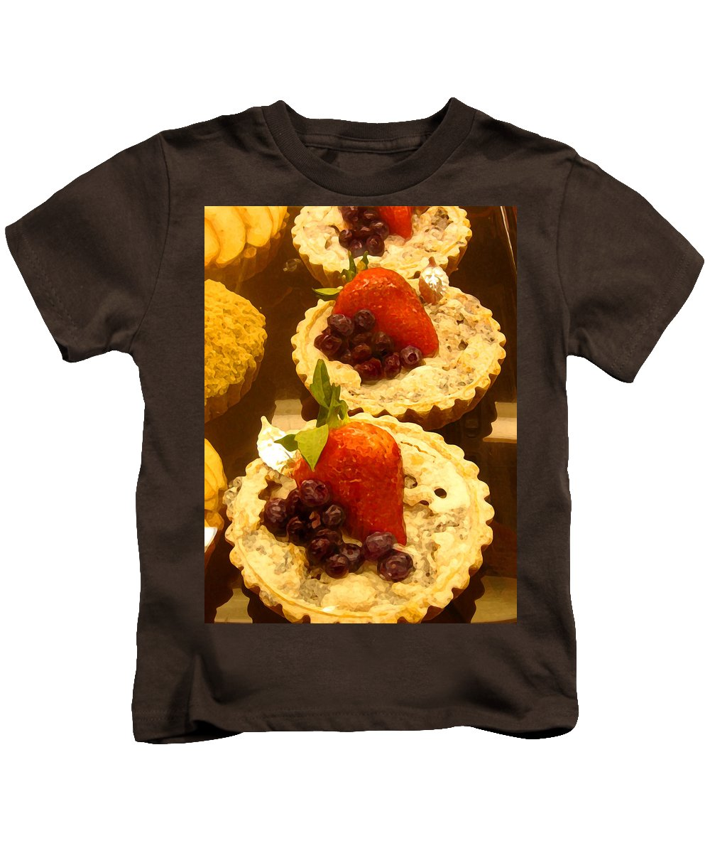Food Kids T-Shirt featuring the painting Strawberry Blueberry Tarts by Amy Vangsgard