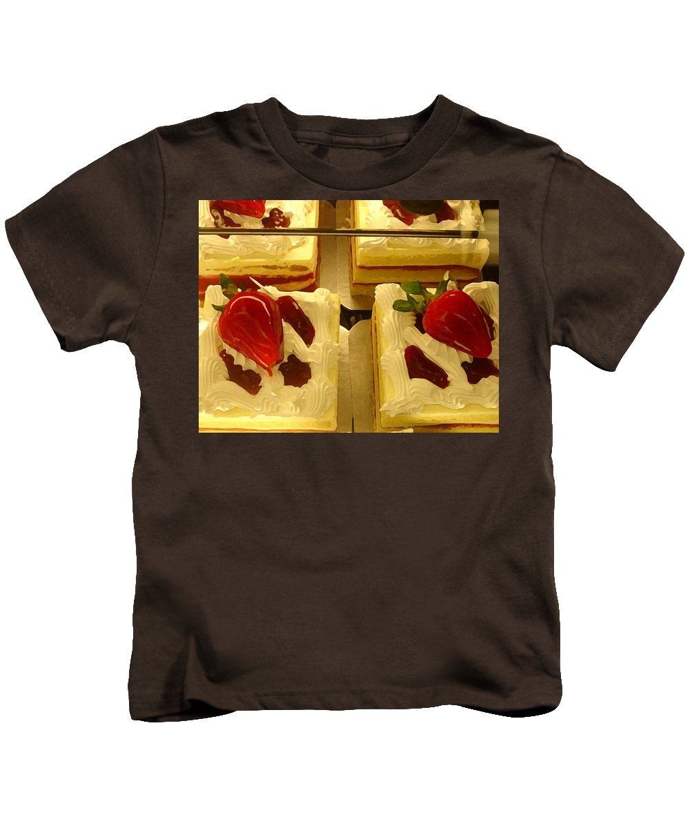 Kitchen Kids T-Shirt featuring the painting Strawberry Cakes by Amy Vangsgard