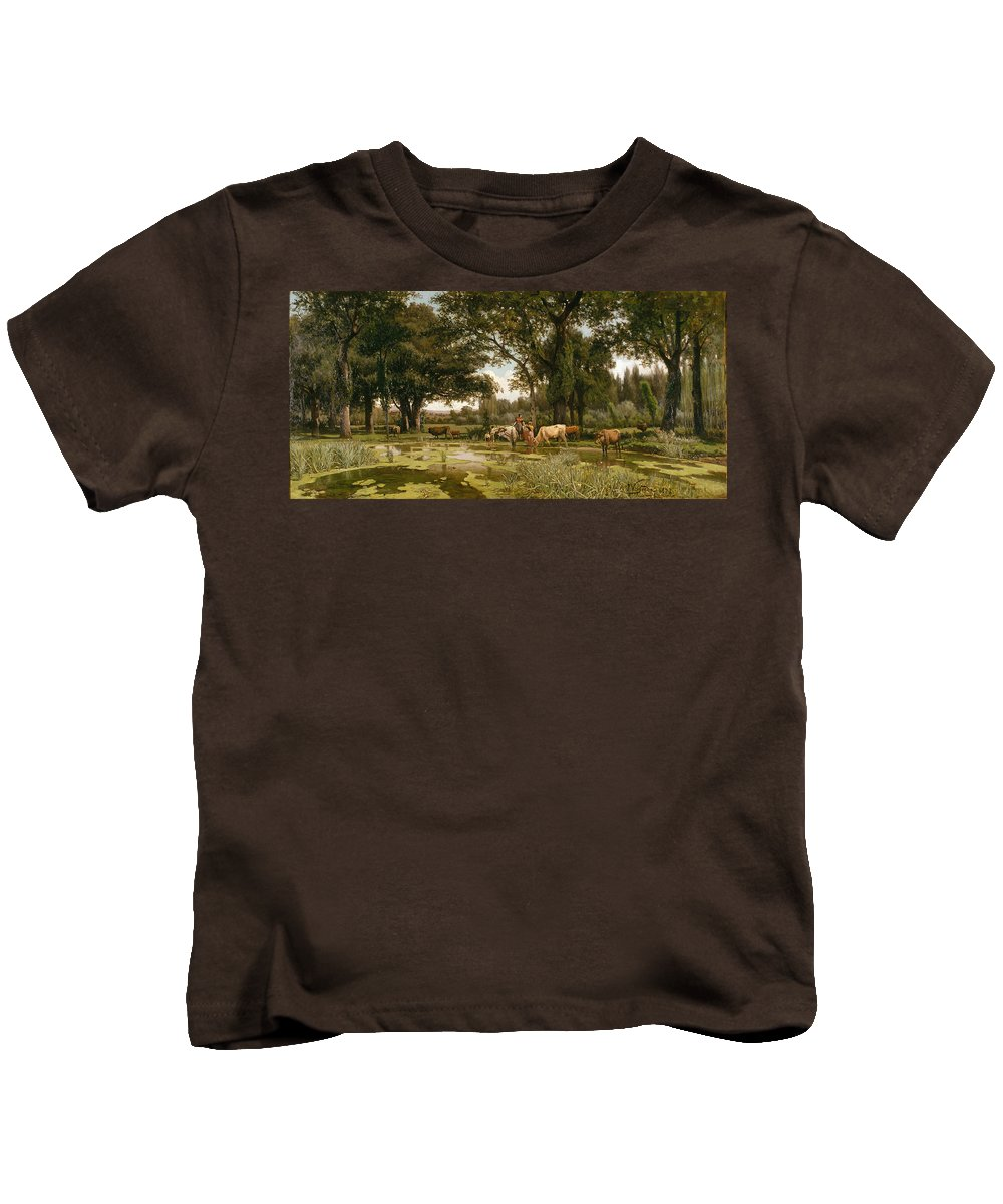 Joaquim Vayreda I Vila Kids T-Shirt featuring the painting Summer Bloom by Joaquim Vayreda i Vila