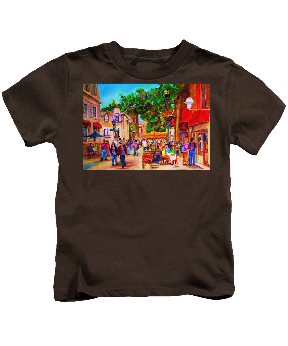 Summer Cafes Montreal Street Scenes Kids T-Shirt featuring the painting Summer Cafes by Carole Spandau
