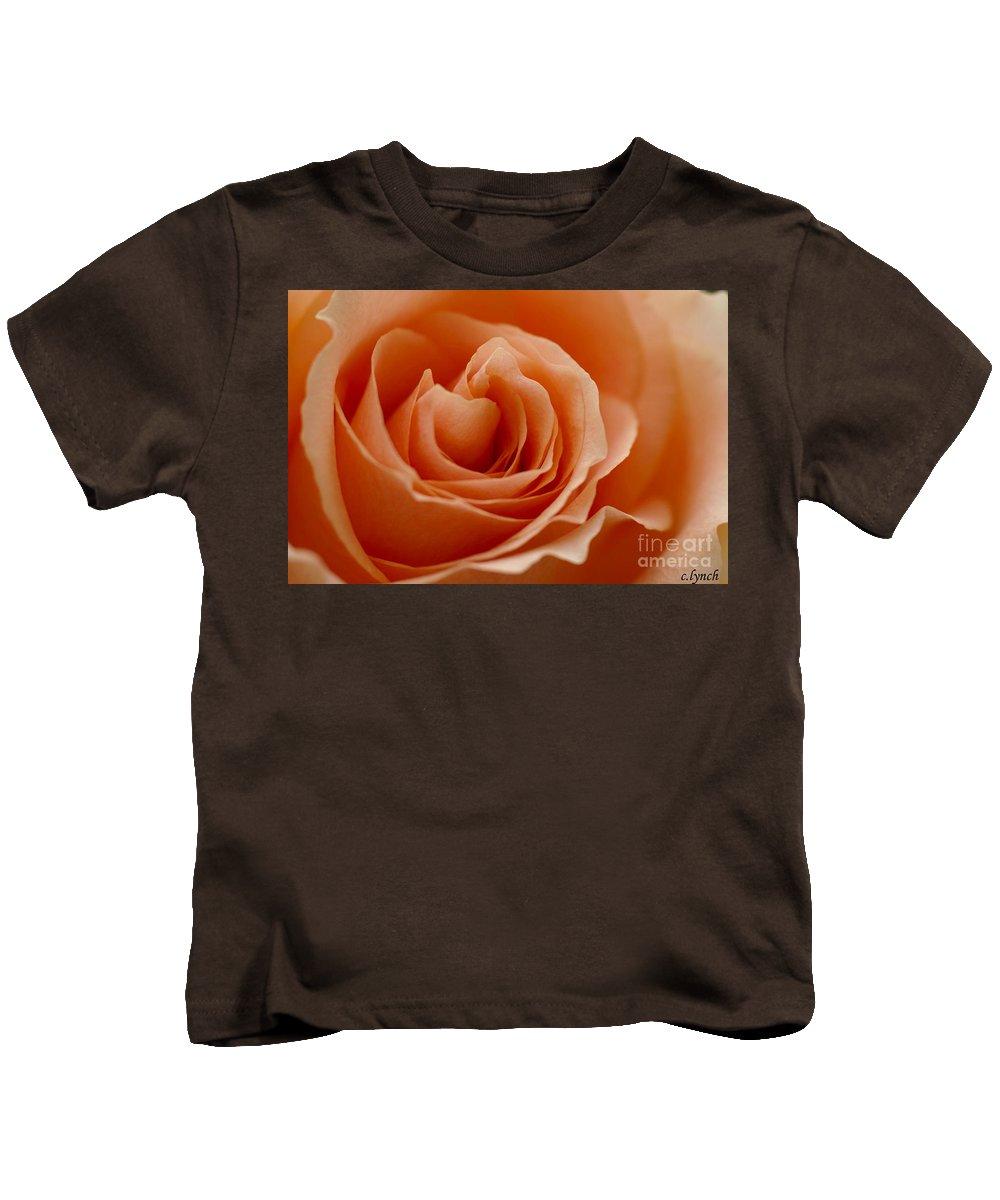 Peach Kids T-Shirt featuring the photograph Summer Peach by Carol Lynch