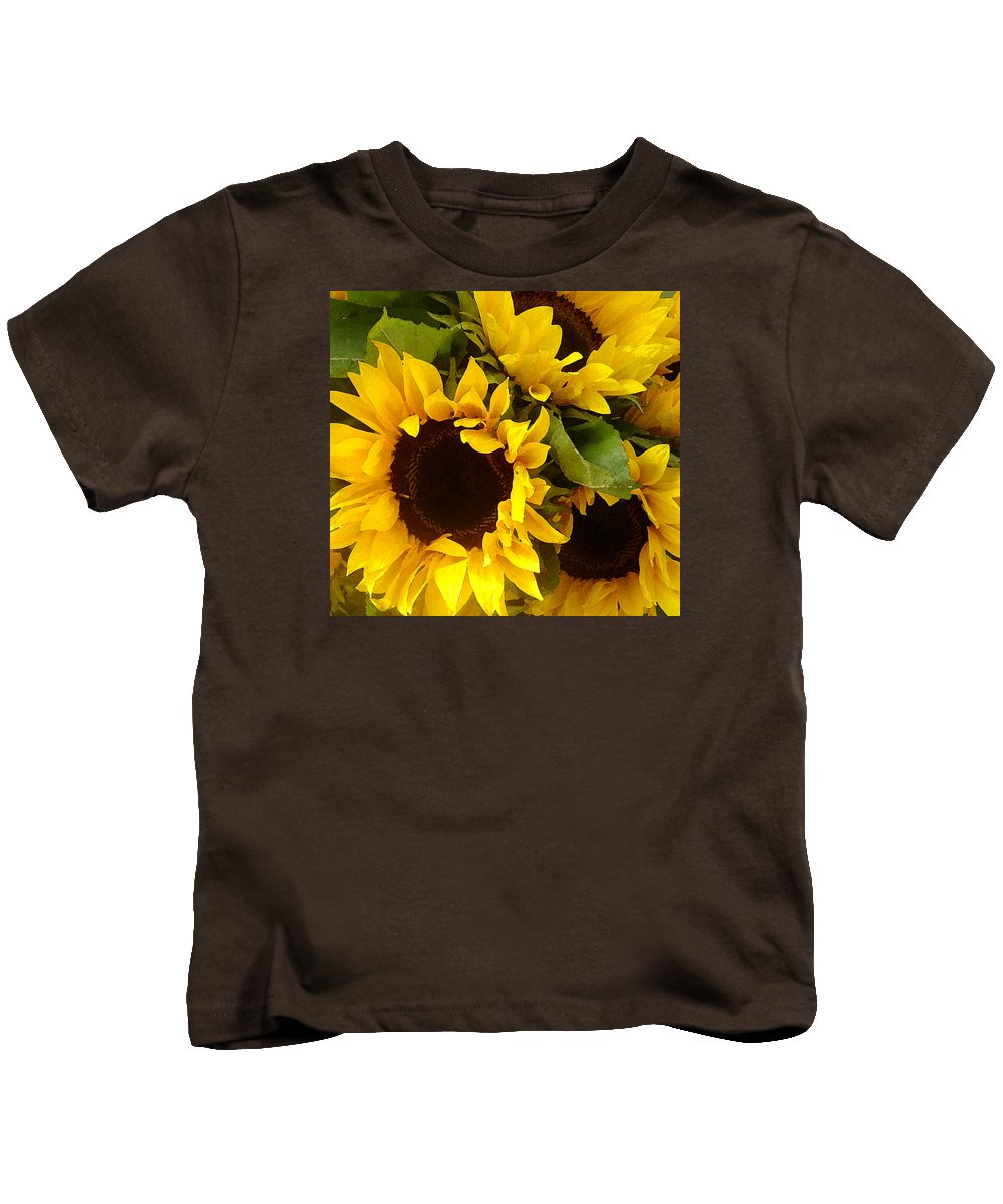 Sunflowers Kids T-Shirt featuring the painting Sunflowers by Amy Vangsgard