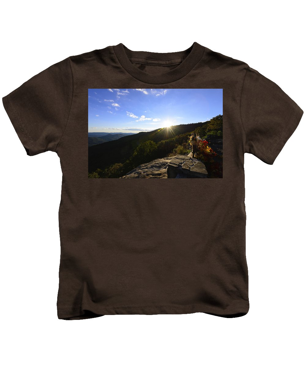 Sunset Kids T-Shirt featuring the photograph Sunset Over Halloween Decorations On Black Rock Mountain by Steve Samples