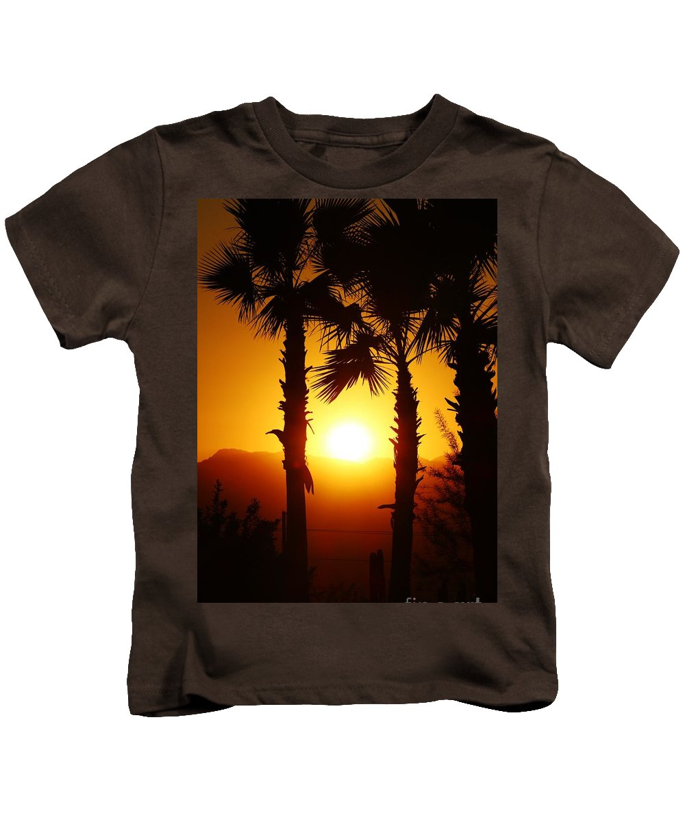 Palm Kids T-Shirt featuring the photograph Sunset Palms by Long Love Photography