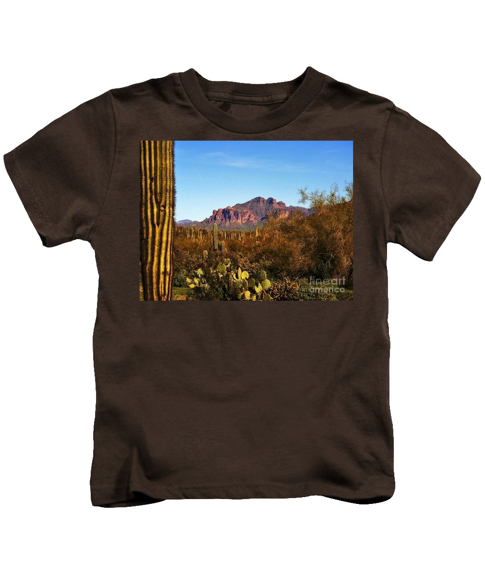 Superstition Mountain Kids T-Shirt featuring the photograph Superstition Splendor by Marilyn Smith