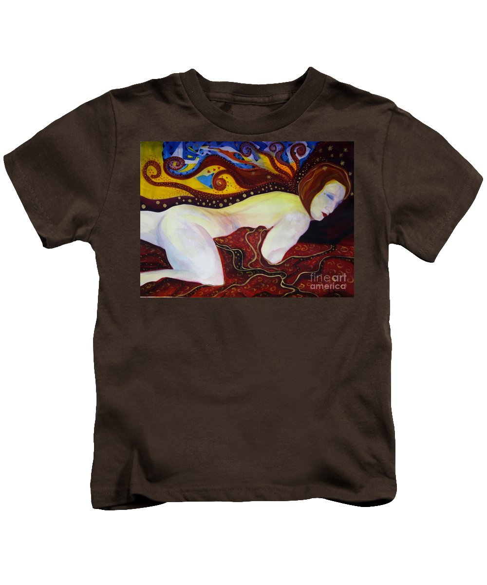 Expressionism Kids T-Shirt featuring the painting Sweet Dreams by Carolyn LeGrand