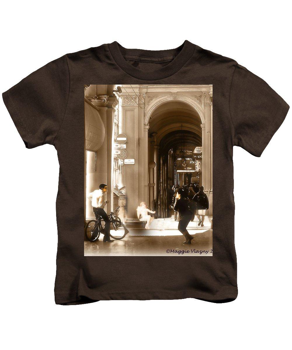 The Art Of Love Italian Style Kids T-Shirt featuring the mixed media The Art Of Love Italian Style by Femina Photo Art By Maggie
