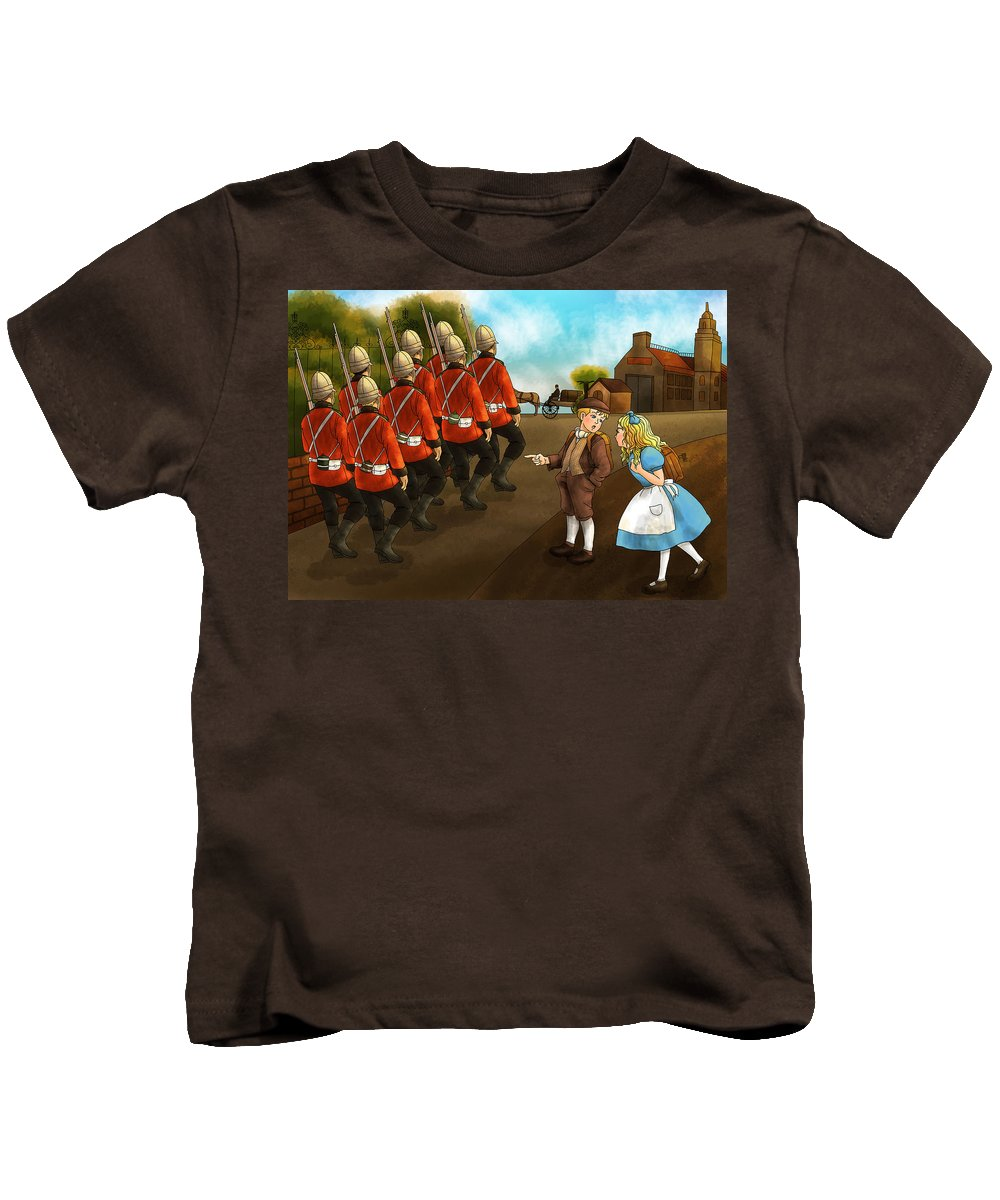 Wurtherington Kids T-Shirt featuring the painting The British Soldiers by Reynold Jay