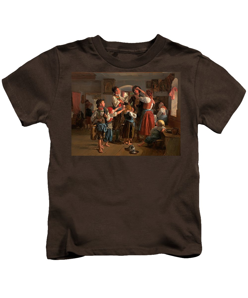 Painting Kids T-Shirt featuring the painting The Conscript's Farewell by Mountain Dreams