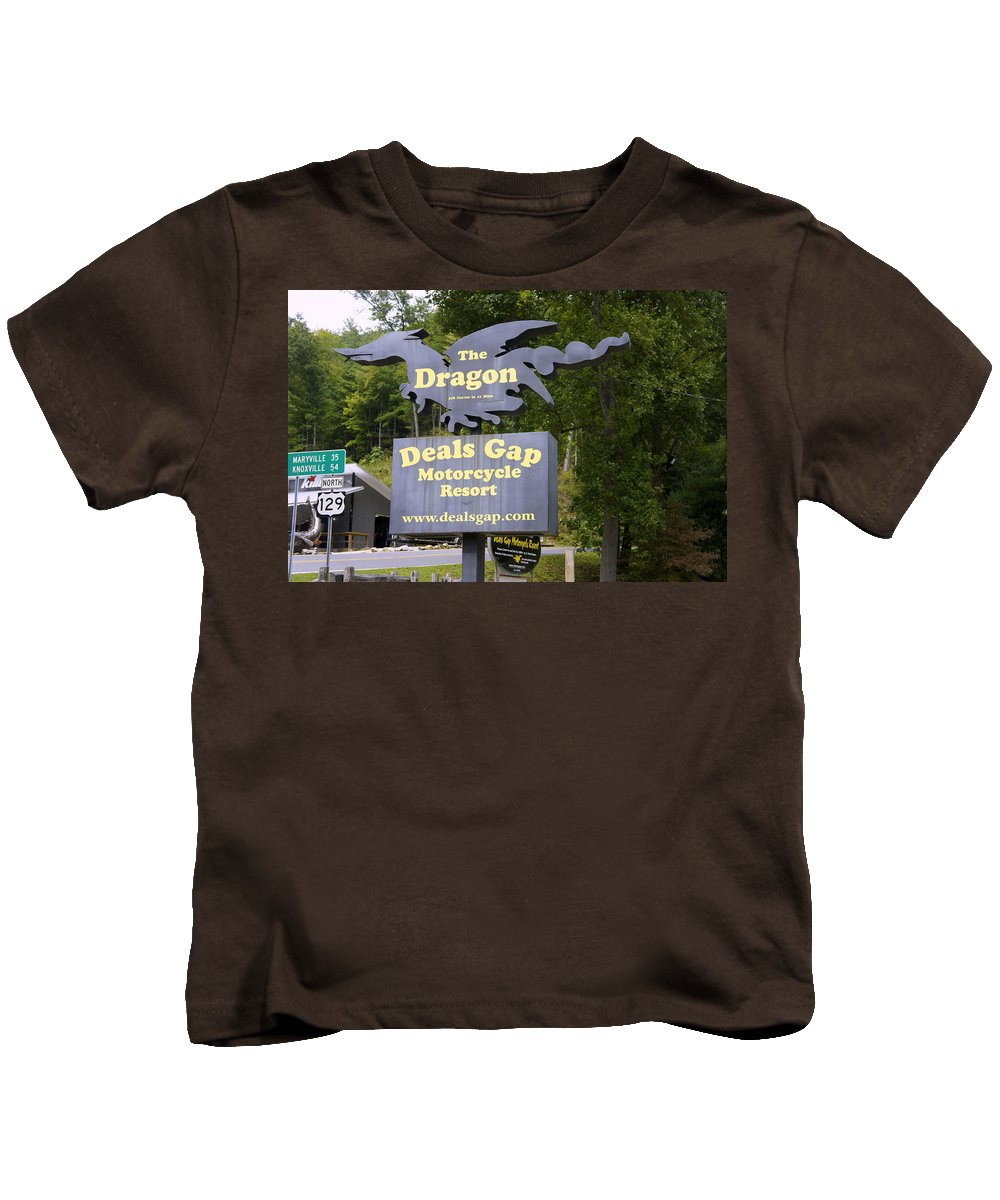 Deals Gap Kids T-Shirt featuring the photograph The Dragon by Laurie Perry