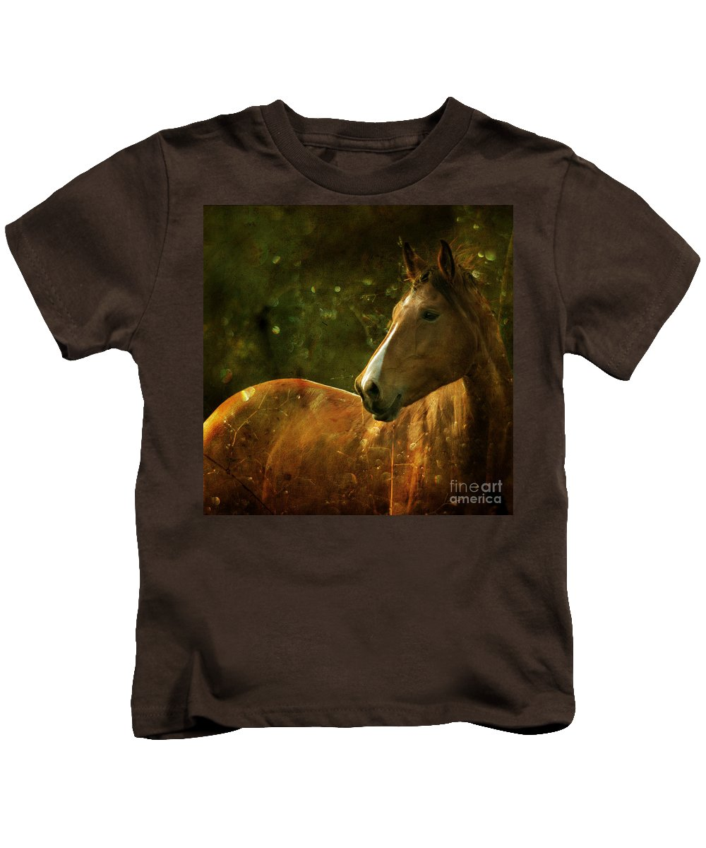 Horse Kids T-Shirt featuring the photograph The Fairytale Horse by Angel Ciesniarska