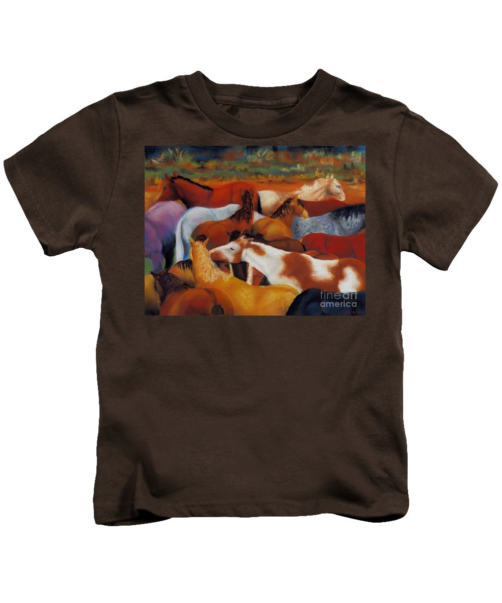 Herd Of Horses Kids T-Shirt featuring the painting The Gathering by Frances Marino