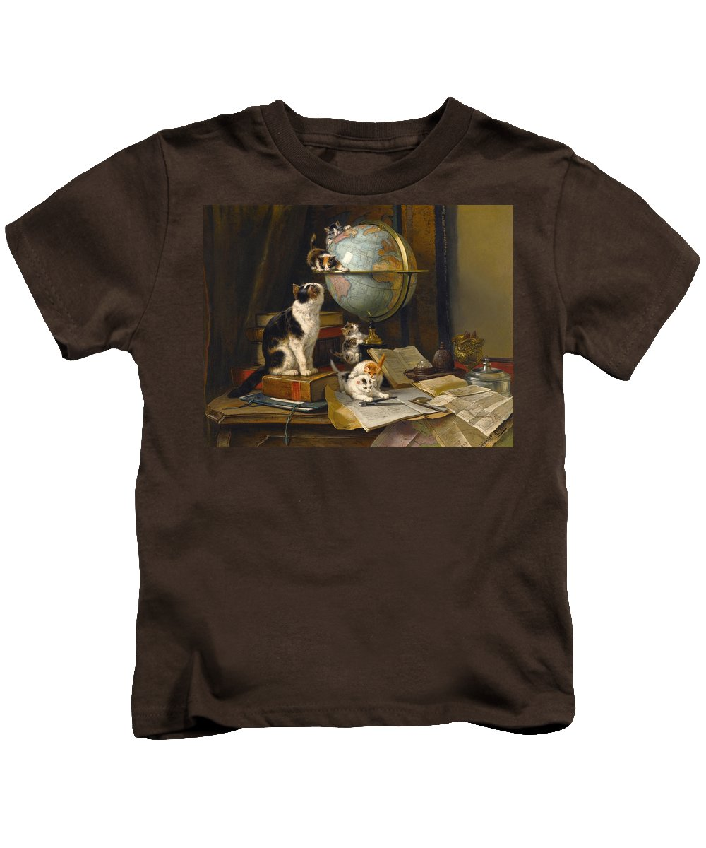 Henriette Ronner-knip Kids T-Shirt featuring the painting The Globertrotters by Henriette Ronner-Knip