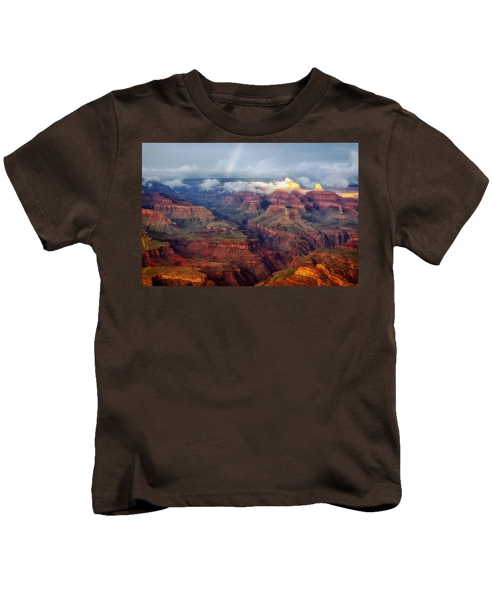 Rainbow Kids T-Shirt featuring the photograph The Grand Canyon After The Storm by Mountain Dreams