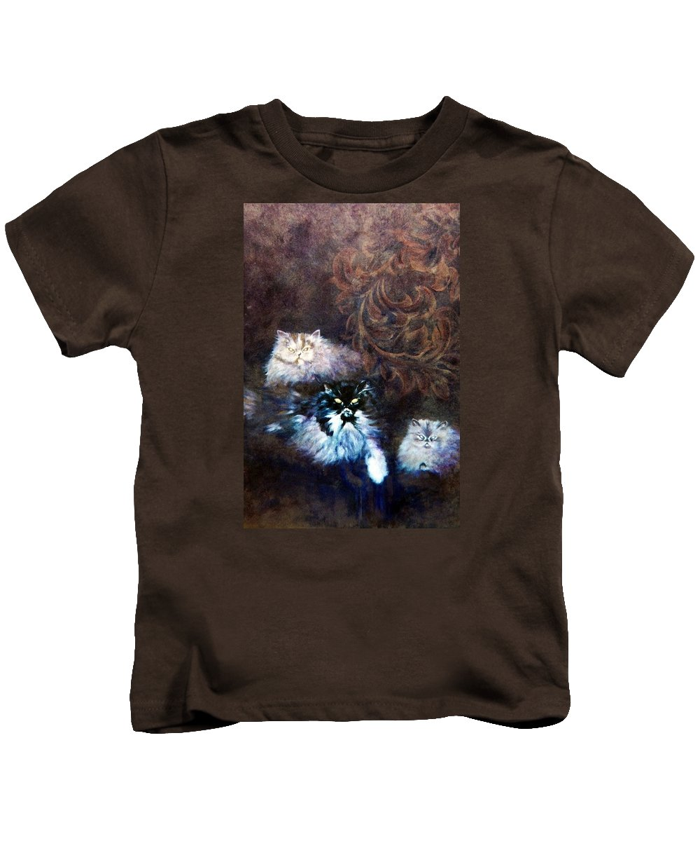 Himalayan Cats Kids T-Shirt featuring the painting The Himalayans by Ashley Kujan