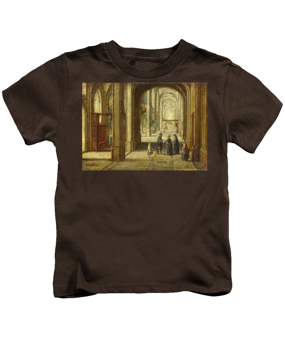Hendrick Van Steenwijck The Younger Kids T-Shirt featuring the painting The Interior Of A Gothic Church Looking East by Hendrick van Steenwijck the Younger