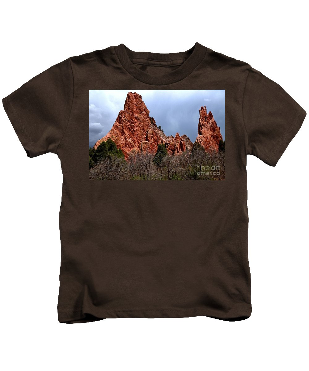 Sunrise At Garden Of The Gods Kids T-Shirt featuring the photograph The Jagged Edges by Adam Jewell
