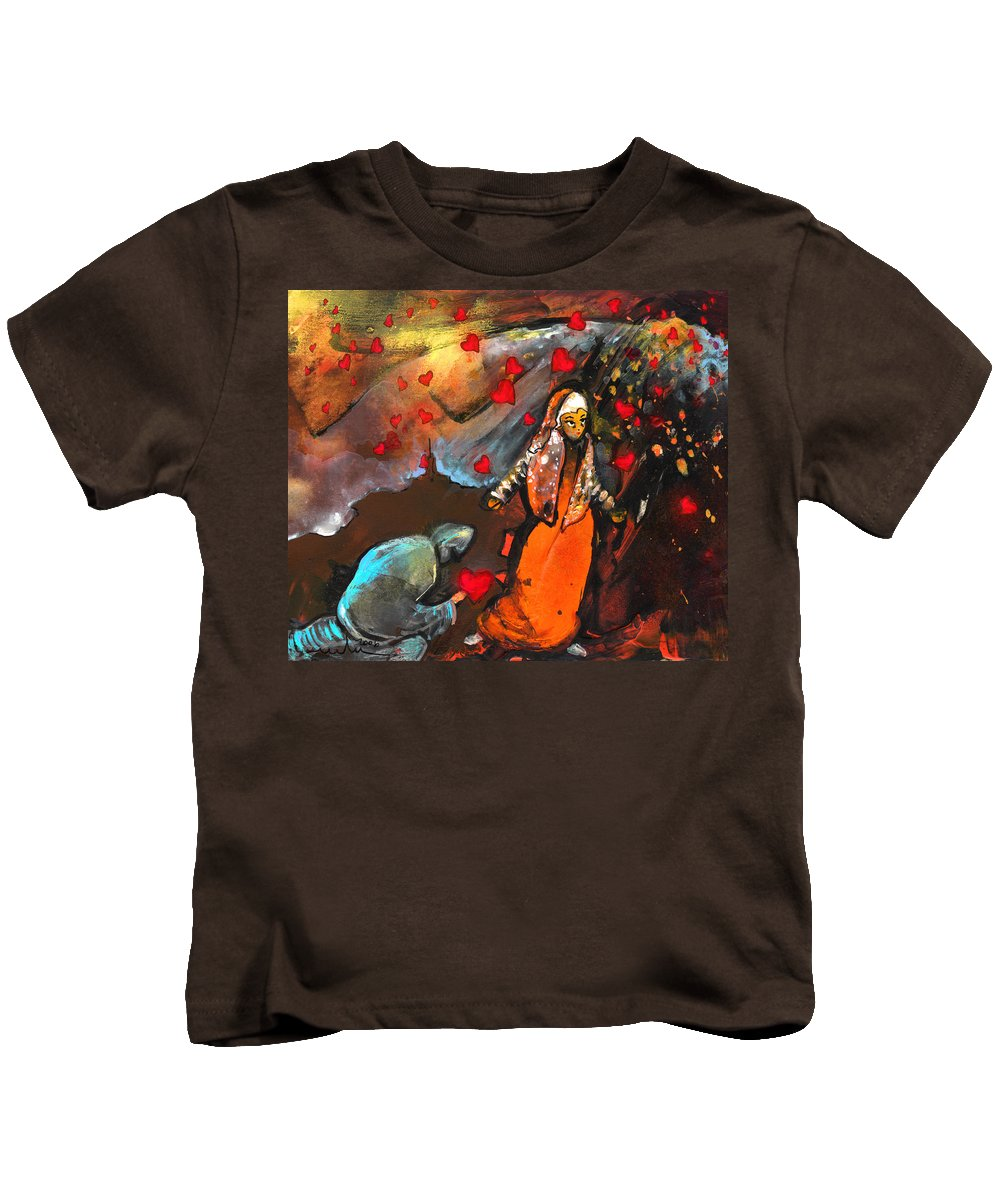 Valentine Kids T-Shirt featuring the painting The Knight Of Your Heart by Miki De Goodaboom