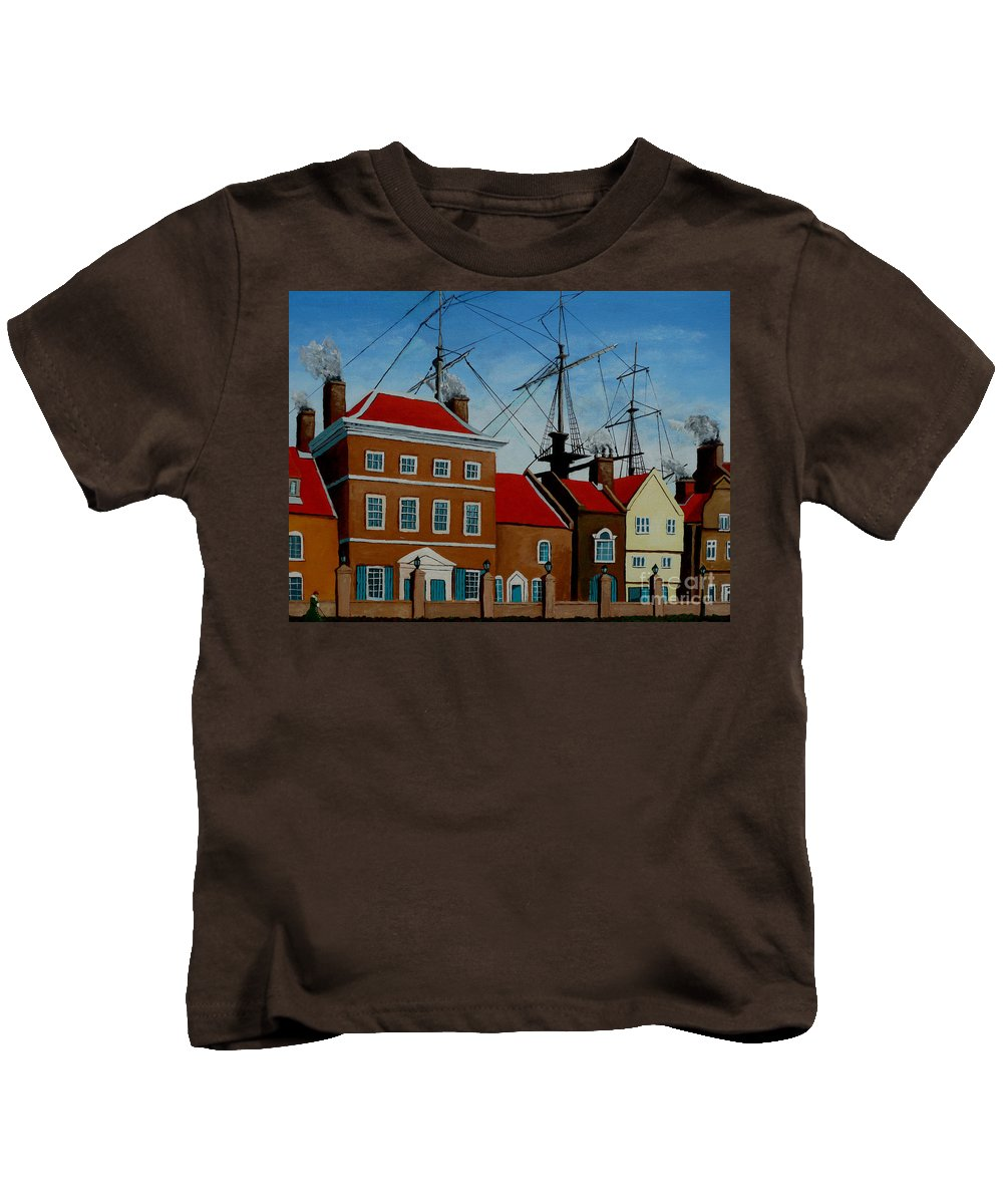 England Kids T-Shirt featuring the painting The Lady In Green by Anthony Dunphy