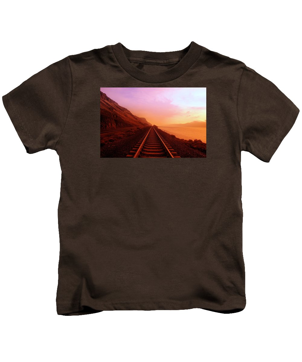 Columbia River Kids T-Shirt featuring the photograph The Long Walk To No Where by Jeff Swan