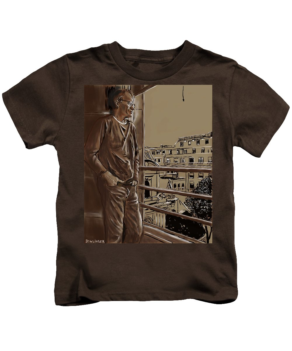 Figure Kids T-Shirt featuring the painting The Man Who Loved Paris by Scott Bowlinger