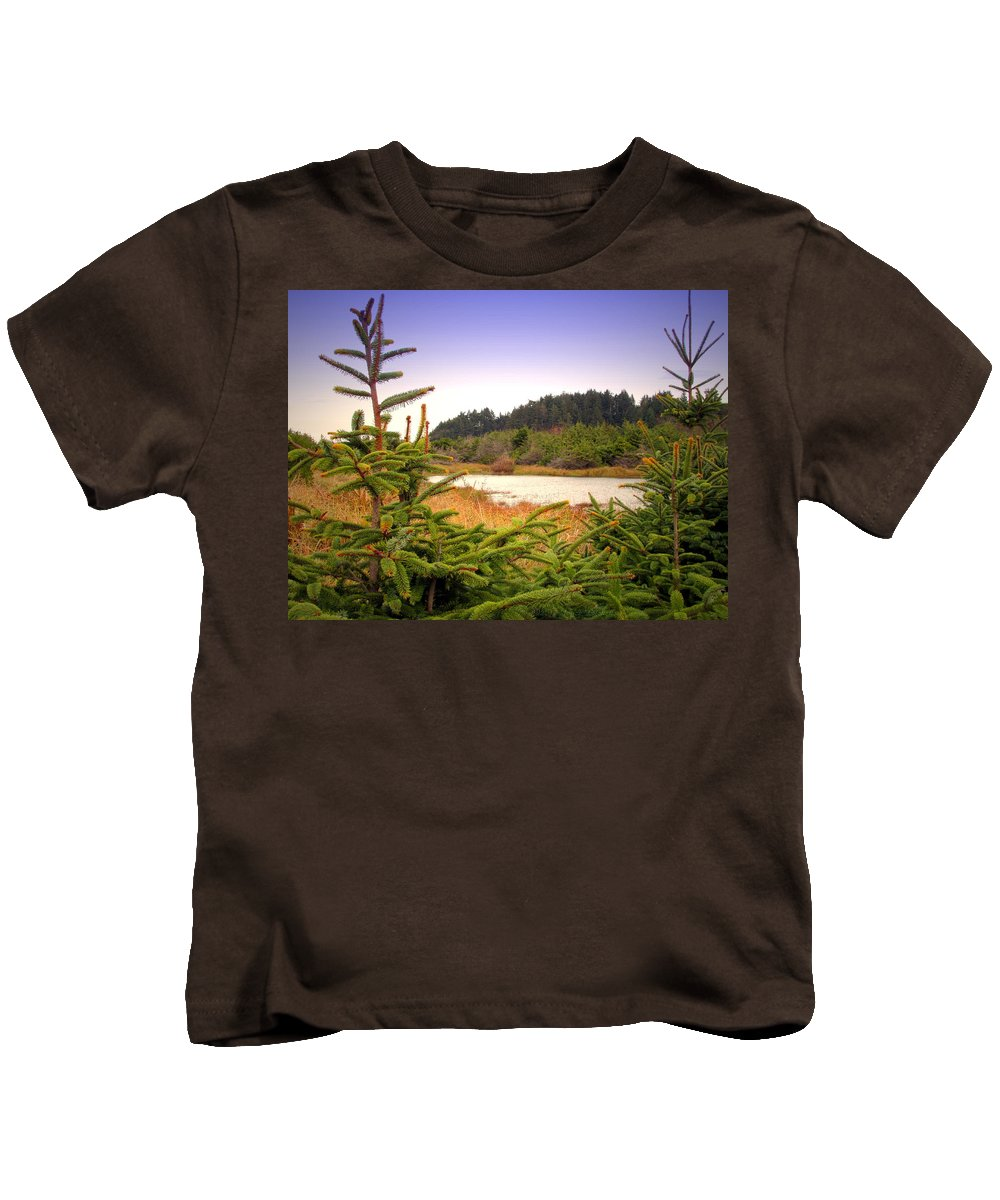 Pond Kids T-Shirt featuring the photograph The Pond In The Forest by Joyce Dickens