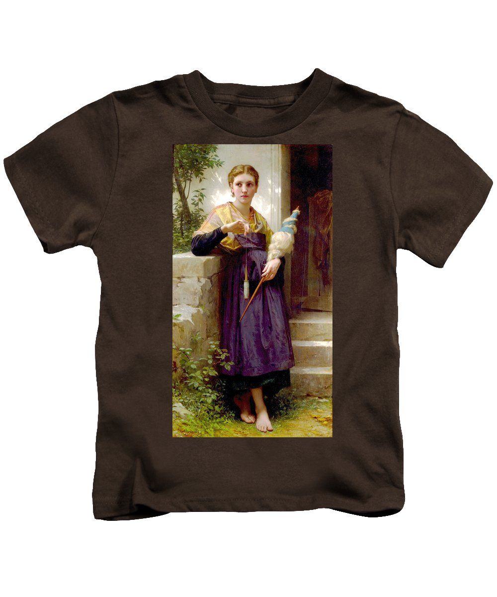 The Spinner Kids T-Shirt featuring the digital art The Spinner by William Bouguereau