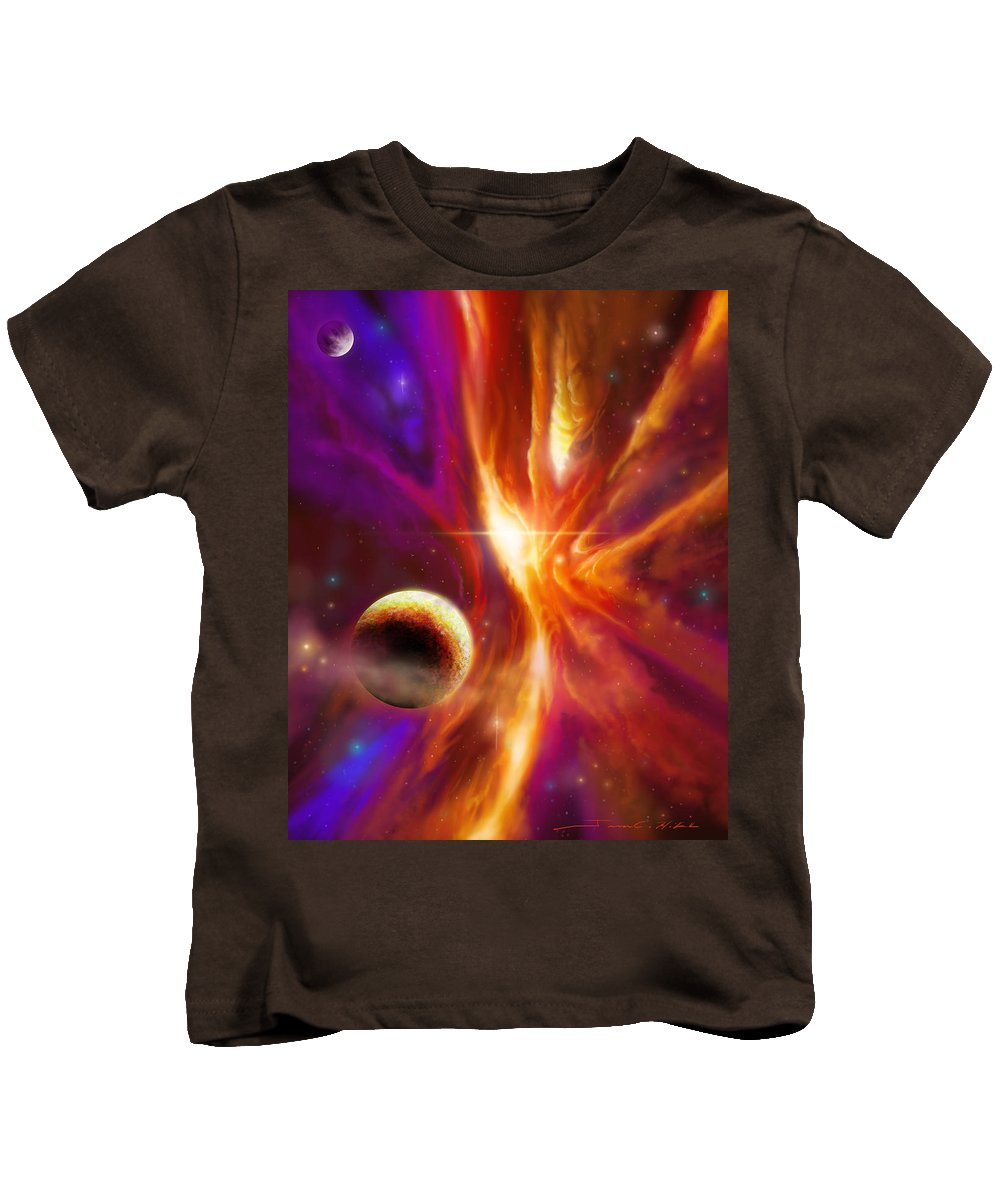 Jameshillgallery.com Kids T-Shirt featuring the painting The Spirit Realm Of The Saphire Nebula by James Christopher Hill