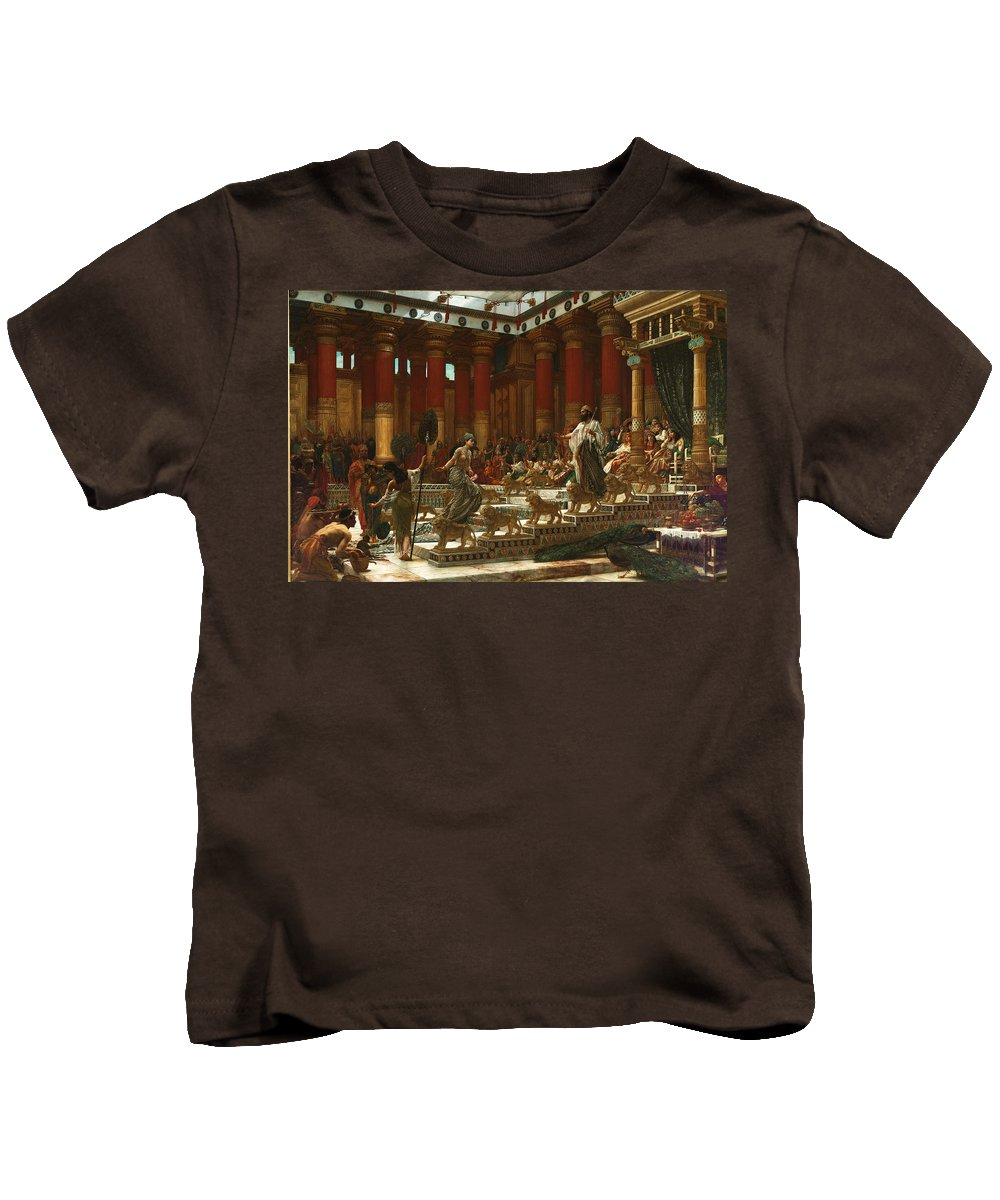 Edward John Poynter Kids T-Shirt featuring the painting The Visit Of The Queen Of Sheba To King Solomon by Edward John Poynter