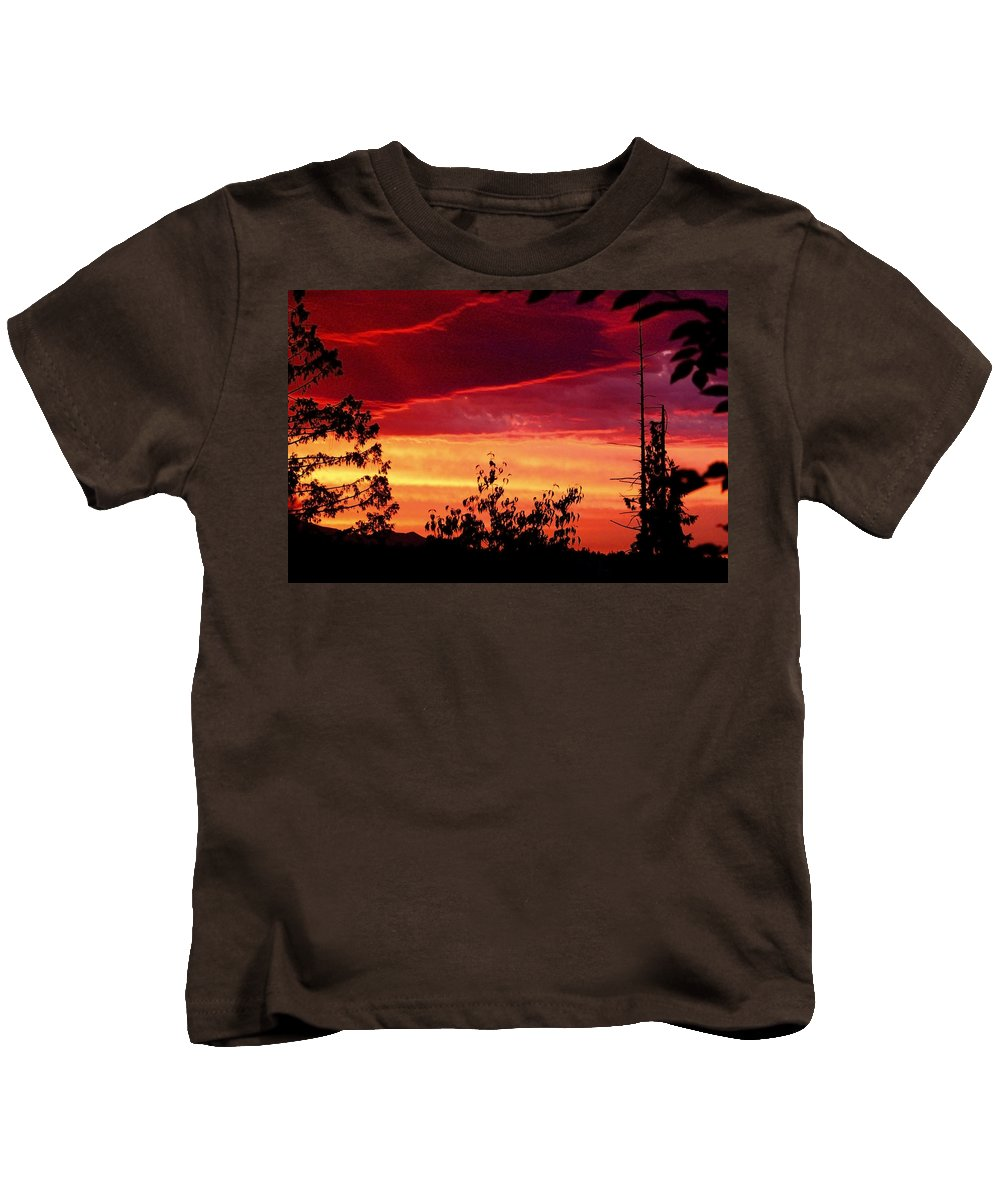 Landscapes Kids T-Shirt featuring the photograph Thee Sunset Of Summer 2014 by Kym Backland