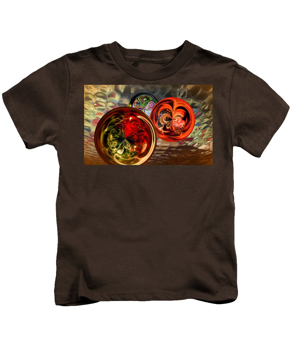 Sphere Kids T-Shirt featuring the digital art Three Colored Balls by Georgianne Giese