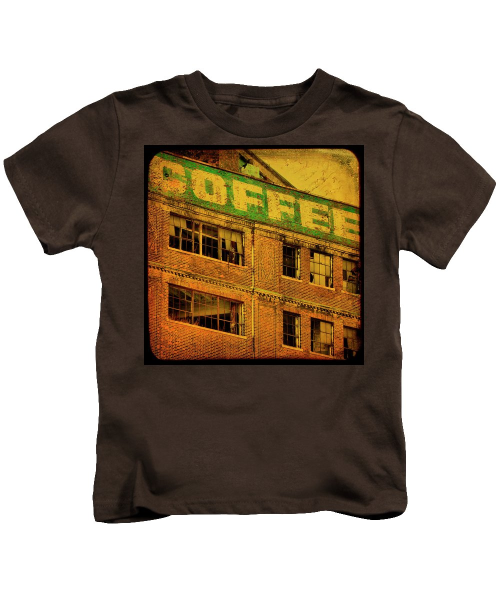 Urban Kids T-Shirt featuring the photograph Time For Coffee by Gothicrow Images