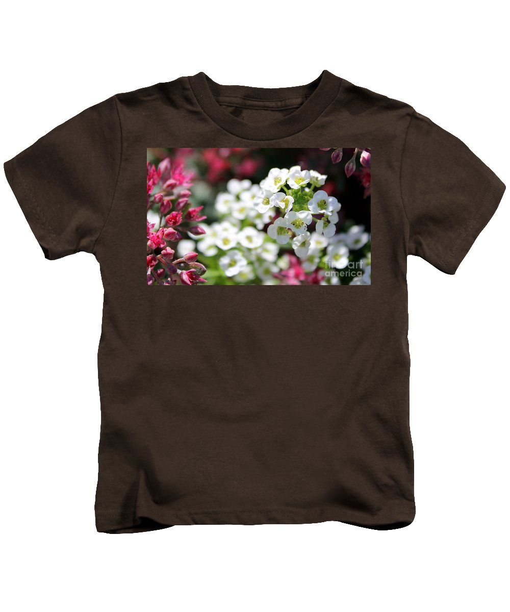 Kids T-Shirt featuring the photograph Tiny Pink And Tiny White Flowers 2 by Renee Croushore