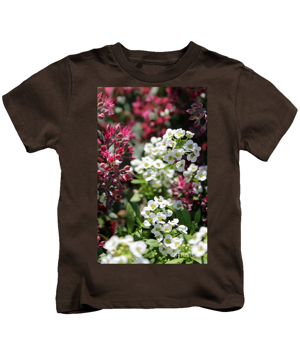 Flower Kids T-Shirt featuring the photograph Tiny Pink And Tiny White Flowers by Renee Croushore