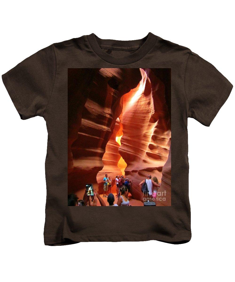 Touring Antelope Canyon Kids T-Shirt featuring the photograph Touring Antelope Canyon by John Malone