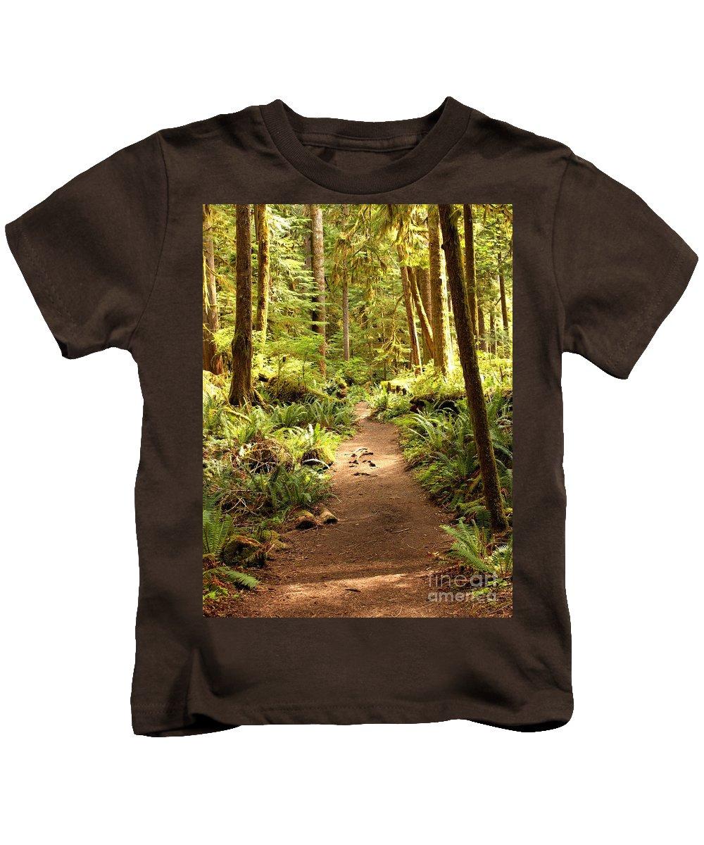 Northwest Kids T-Shirt featuring the photograph Trail Through The Rainforest by Carol Groenen