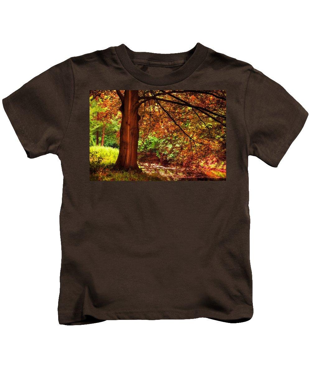 Utrecht Kids T-Shirt featuring the photograph Tree In The Park. De Haar Castle. Utrecht by Jenny Rainbow