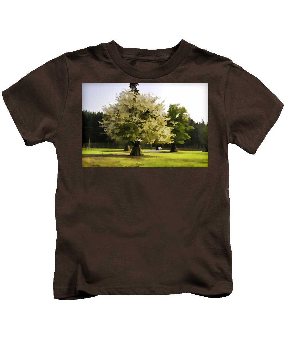 Adventure Park In Scotland Kids T-Shirt featuring the photograph Tree With Large White Flowers by Ashish Agarwal
